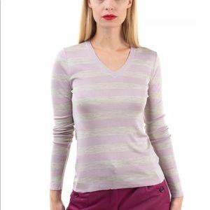 Burberry XS Thin Knit Silk V Neck Top, NWT